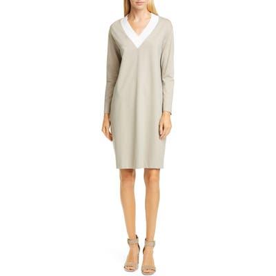Fabiana Filippi Contrast Neck Jersey Shift Dress, US / 46 IT - Beige