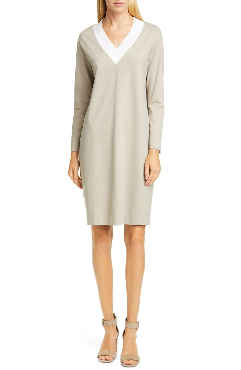 FABIANA FILIPPI Contrast Neck Jersey Shift Dress, Main, color, BEIGE