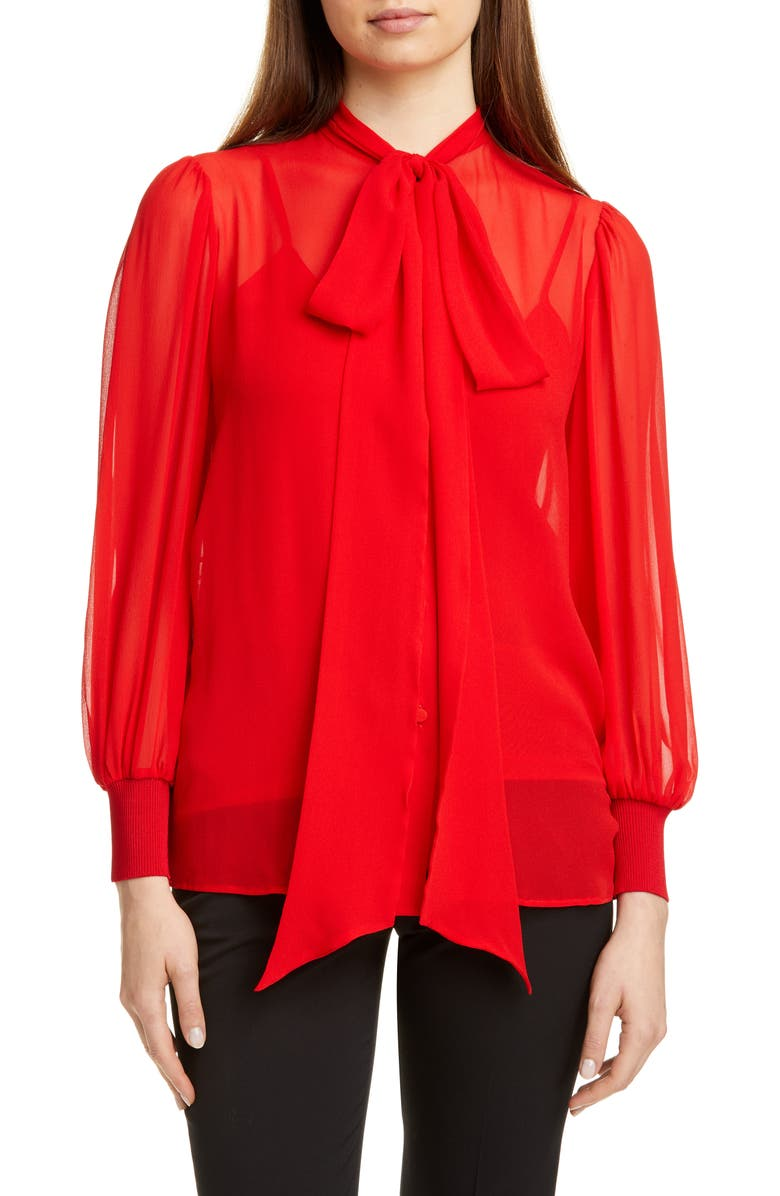 GIVENCHY Silk Georgette Blouse with Removable Tie, Main, color, POP RED