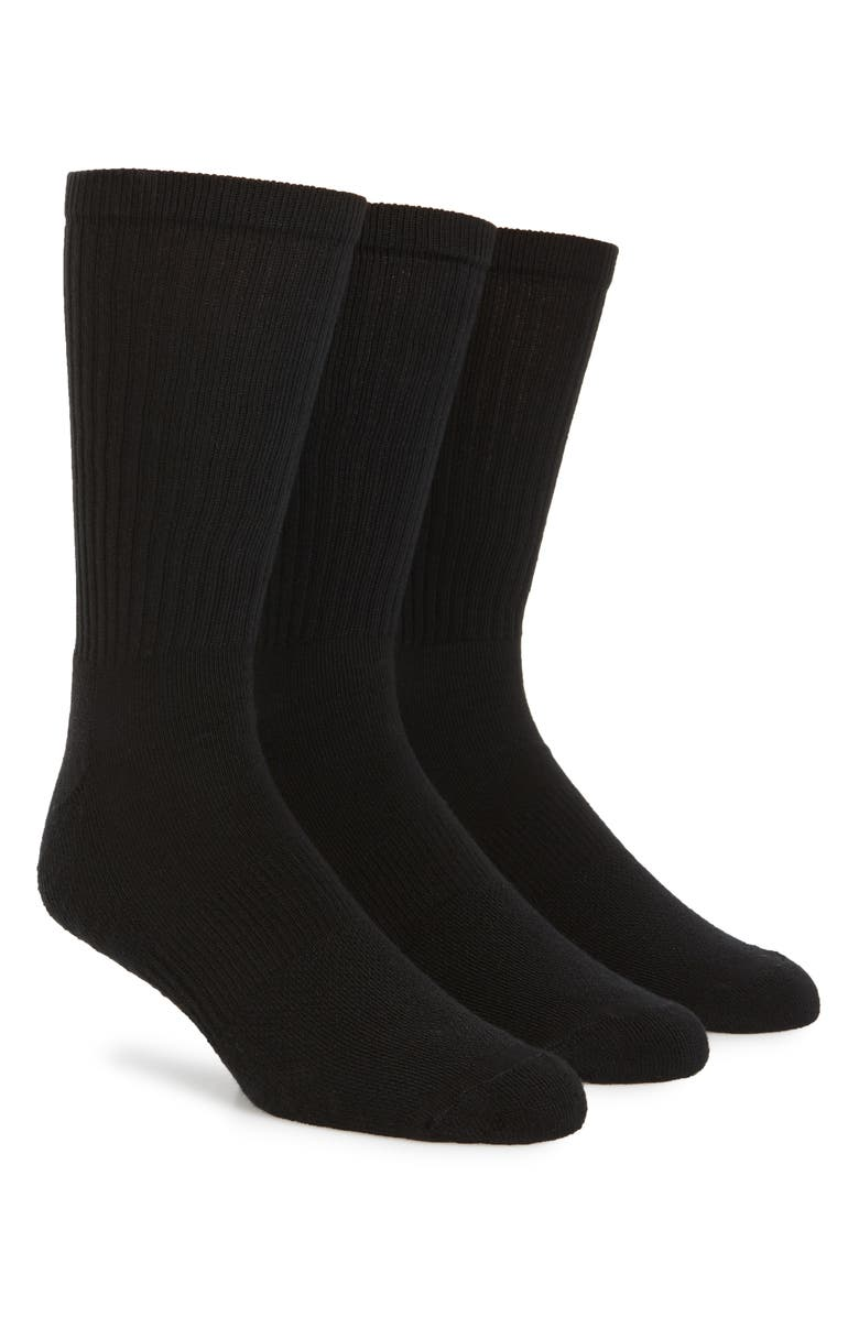 NORDSTROM MEN'S SHOP 3-Pack Crew Cut Athletic Socks, Main, color, BLACK