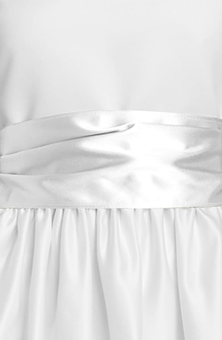 US ANGELS Ivory Sleeveless Satin Dress with Sash, Main, color, 101