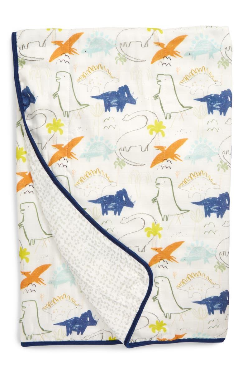 LOULOU LOLLIPOP Dinoland Deluxe Muslin Quilt, Main, color, DINOLAND