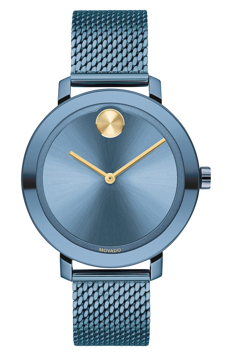 MOVADO Bold Evolution Mesh Strap Watch, 34mm, Main, color, BLUE