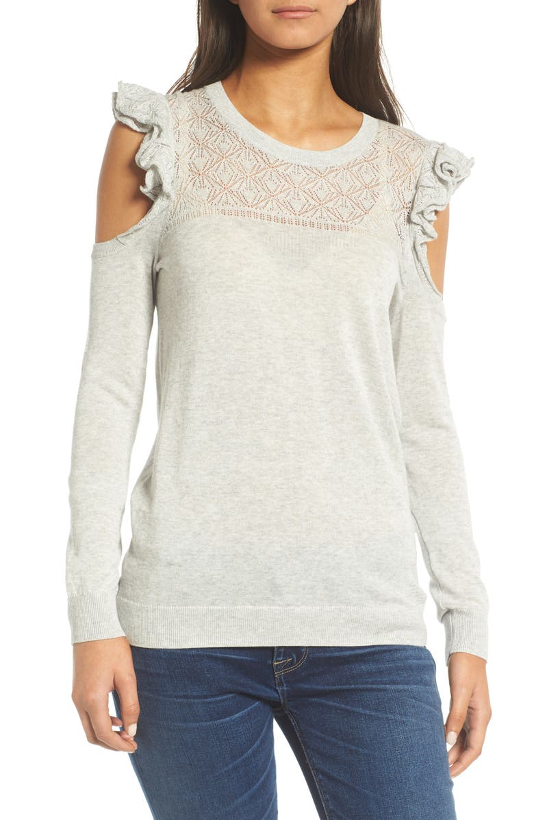 HINGE Ruffle Cold Shoulder Sweater, Main, color, 020