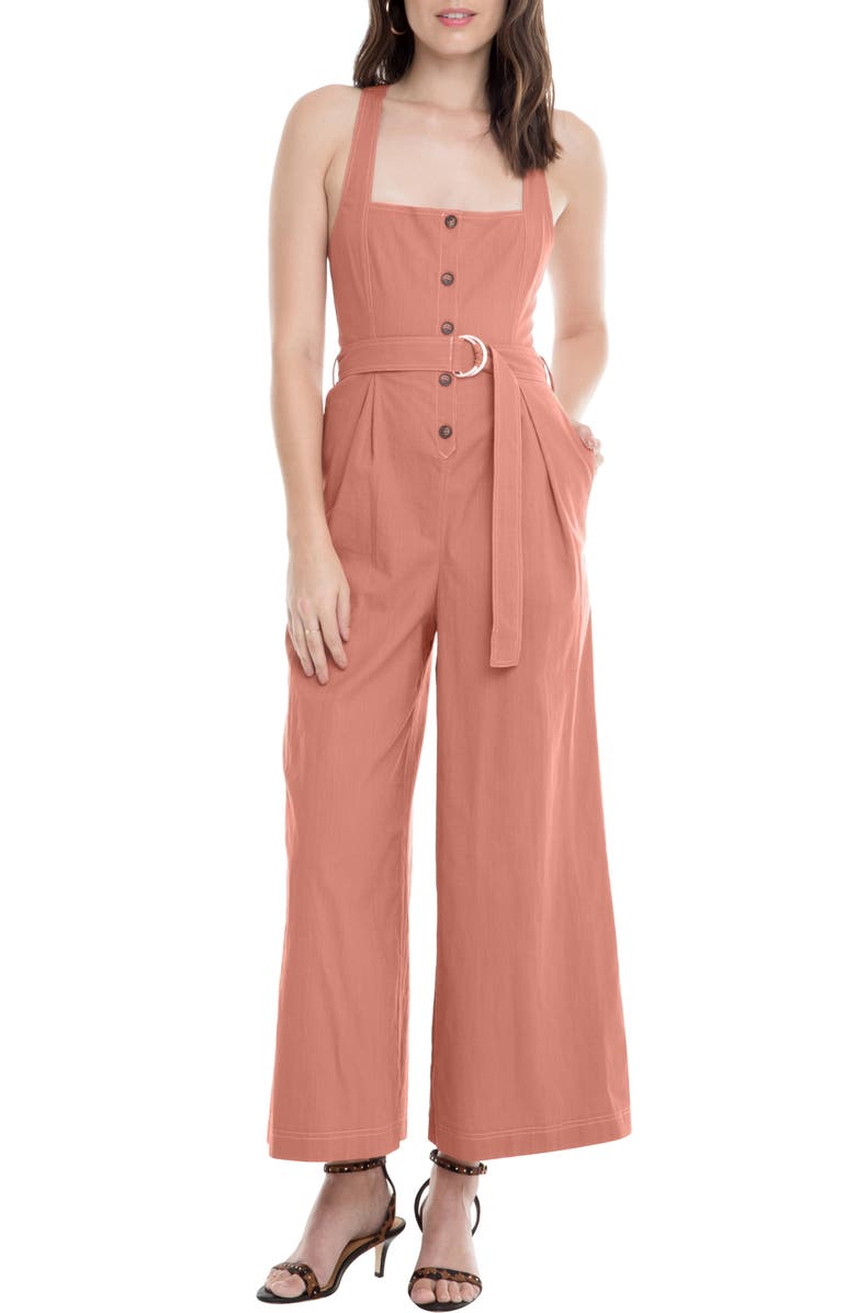 ASTR THE LABEL Warwick Belted Wide Leg Jumpsuit, Main, color, CLAY