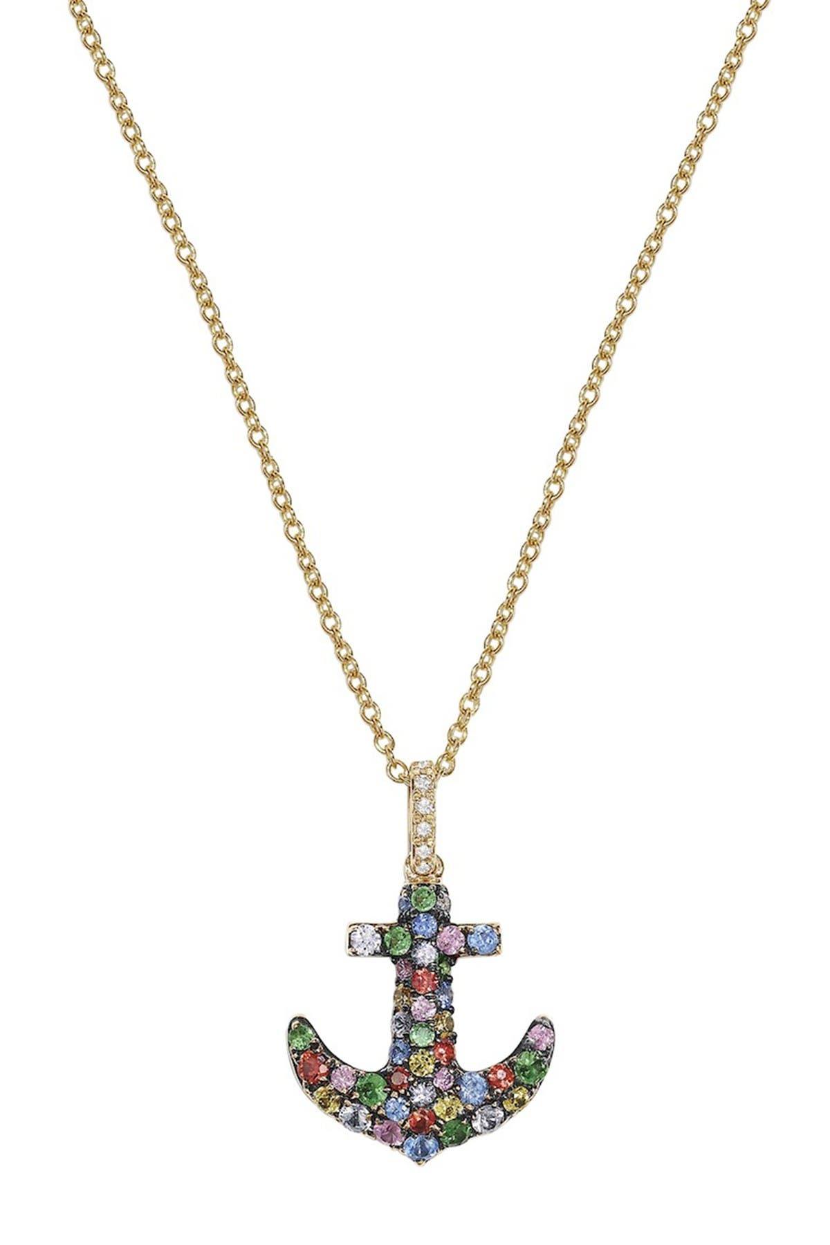 Image of Effy 14K Yellow Gold Diamond & Sapphire Anchor Pendant Necklace - 0.02 ctw