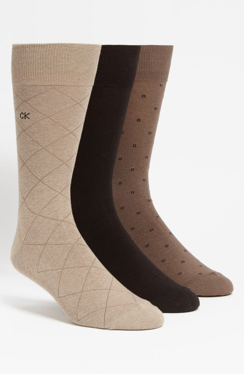CALVIN KLEIN 3-Pack Patterned Dress Socks, Main, color, OPAL