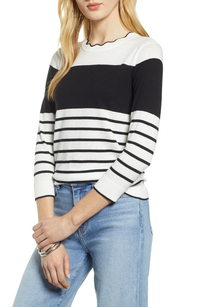 HALOGEN<SUP>®</SUP> Scallop Neck Sweater, Main, color, IVORY- BLACK SPACED STRIPE