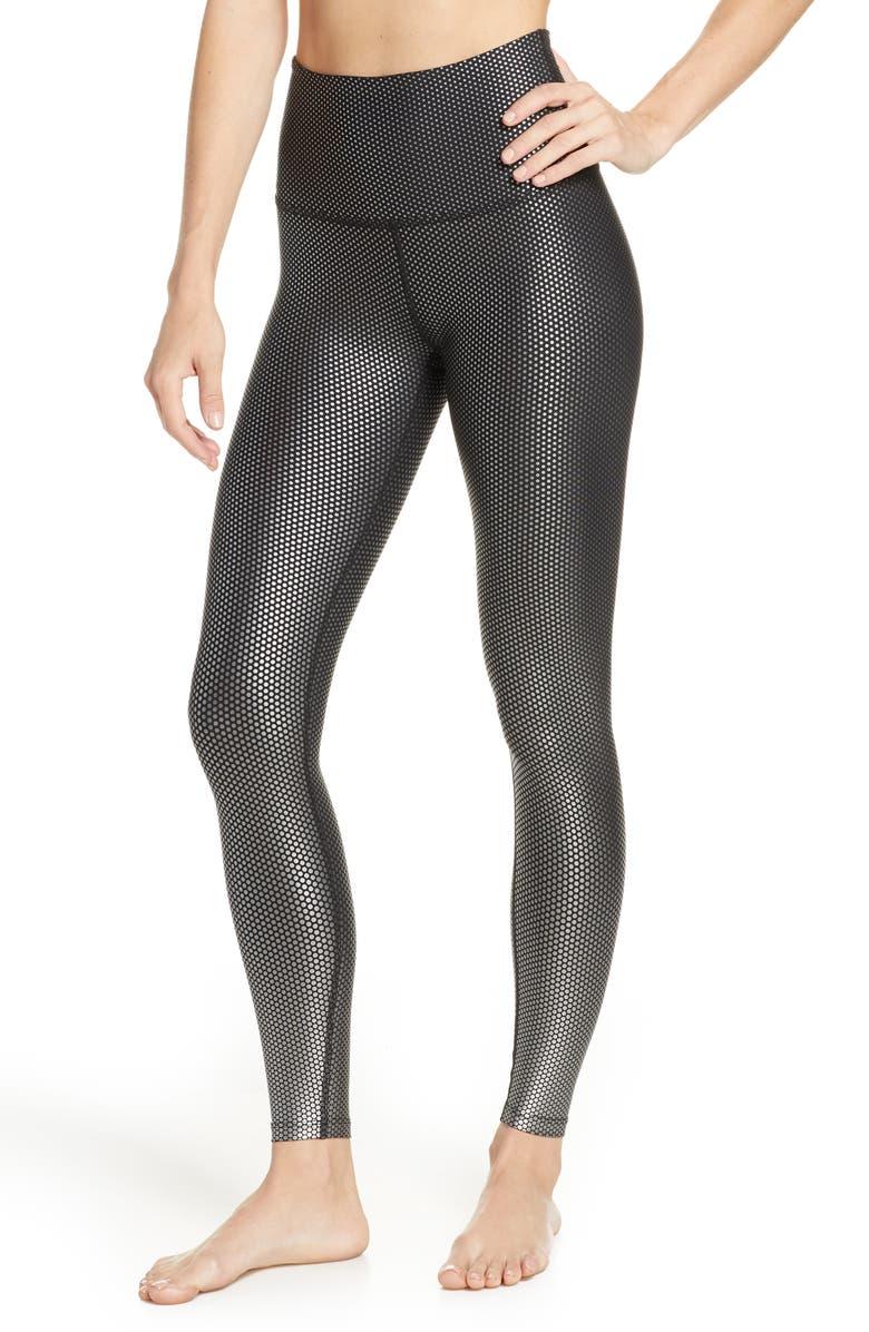 BEYOND YOGA Spot On Midi High Waist Leggings, Main, color, BLACK-ACTIVE STATE SPOT ON