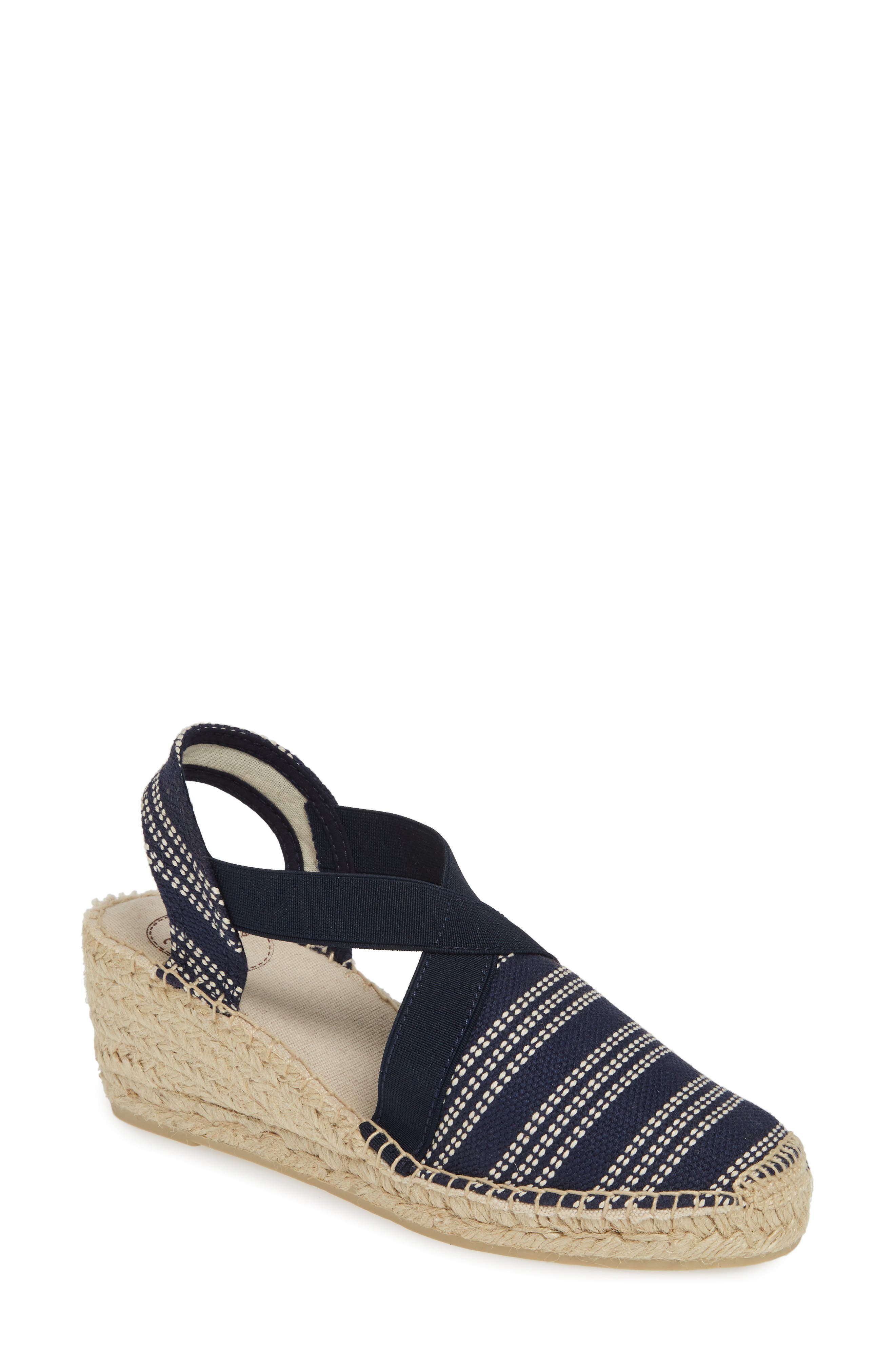 A slingback strap and bold espadrille heel heighten the earthy sophistication of a canvas sandal styled with crisp stripes. Style Name: Toni Pons \\\'Tarbes\\\' Espadrille Wedge Sandal (Women). Style Number: 1056900 2. Available in stores.