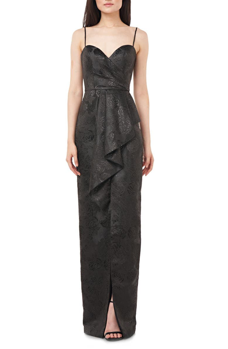 LOVE BY THEIA Jacquard Column Gown, Main, color, BLACK