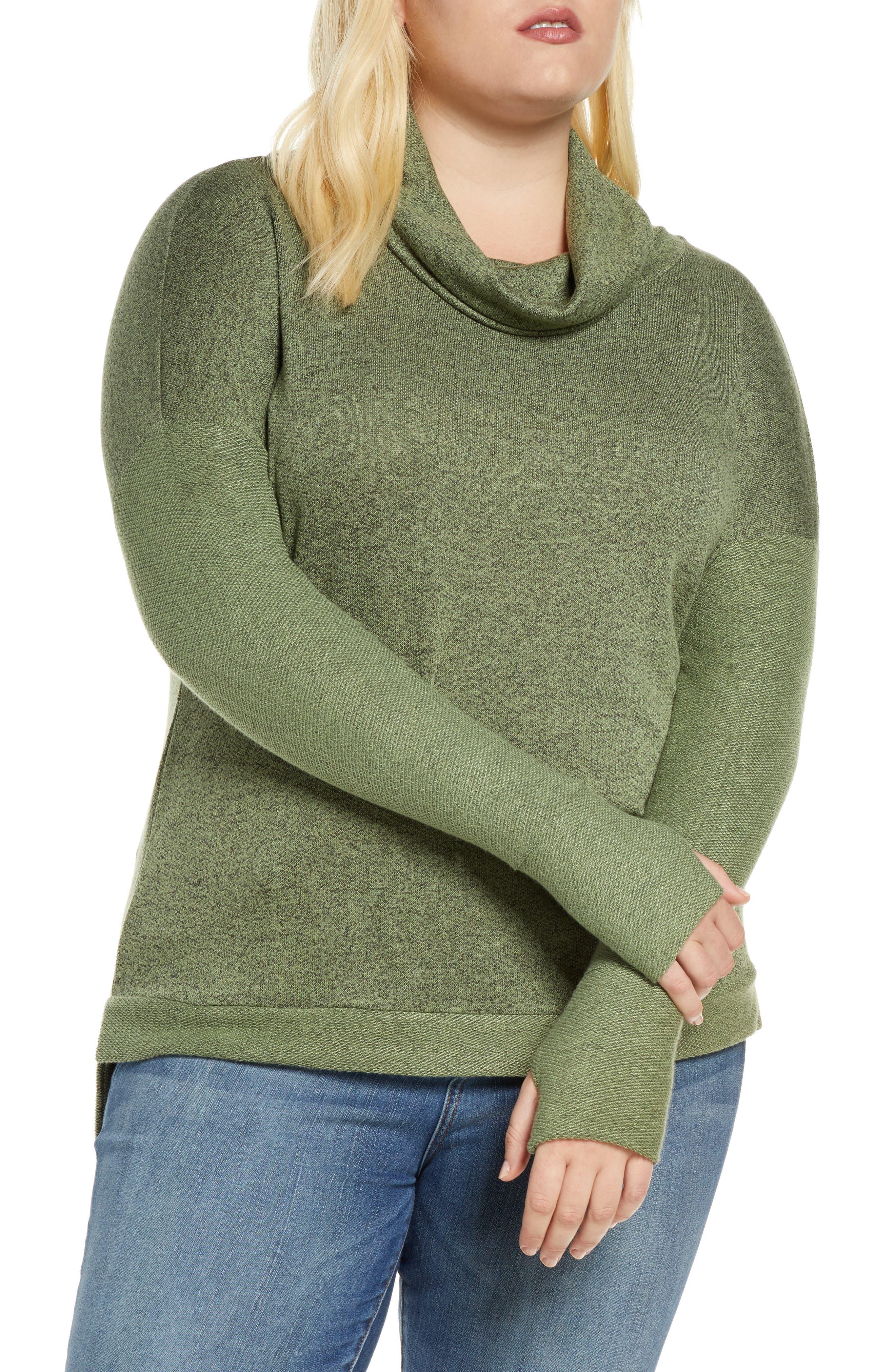 Plus Size Women's Loveapella Reverse Contrast Cowl Neck Long Sleeve Top