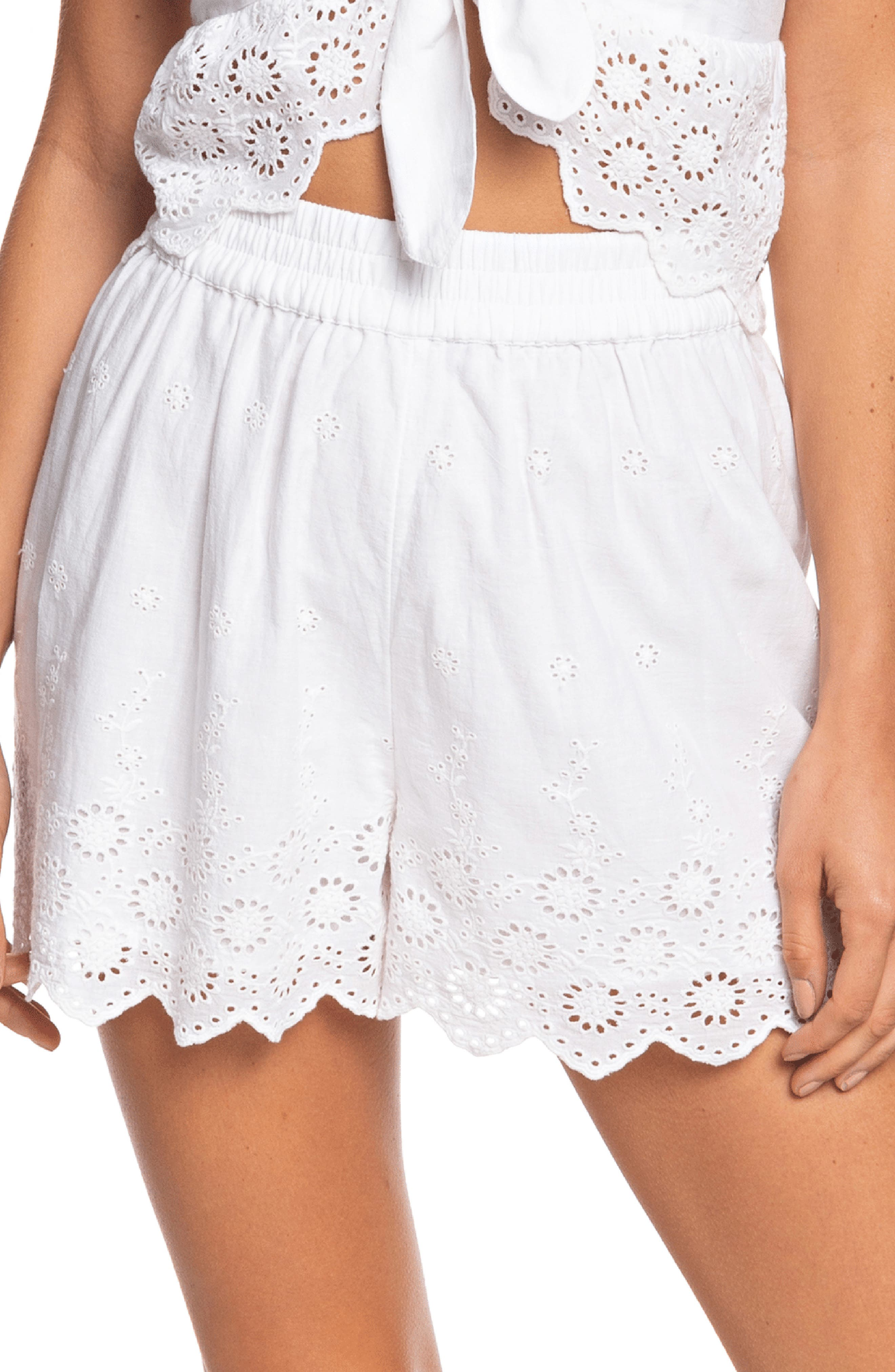 Cottagecore Clothing, Soft Aesthetic Womens Roxy Seaside City Cotton Eyelet Shorts $50.00 AT vintagedancer.com