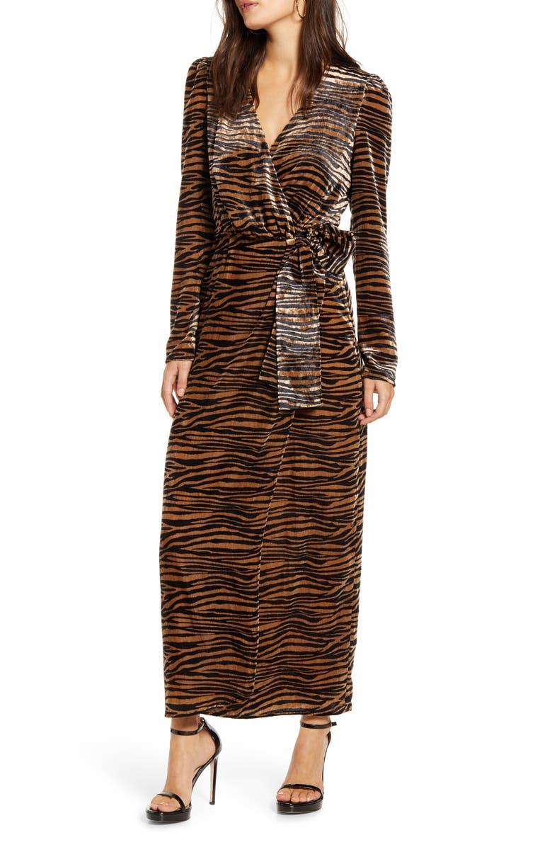WAYF Arlene Tiger Print Long Sleeve Wrap Velvet Maxi Dress, Main, color, BLACK/ CAM TIGER VELVET