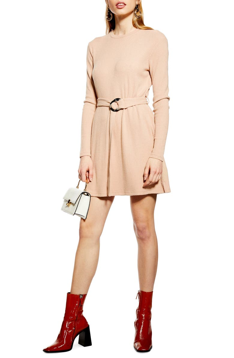 TOPSHOP Long Sleeve Belted Minidress, Main, color, 250