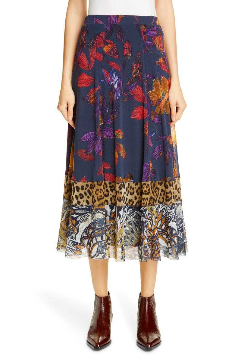 FUZZI Patchwork Leopard Midi Skirt, Main, color, 500