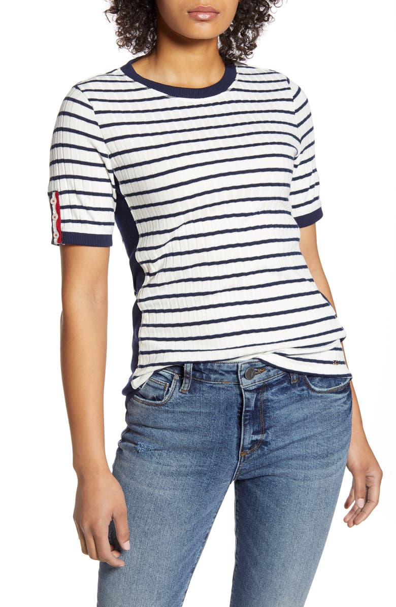 TOMMY HILFIGER Stripe Button Sleeve Rib Knit Top, Main, color, STRIPE- IVORY/SKY CAPTAIN