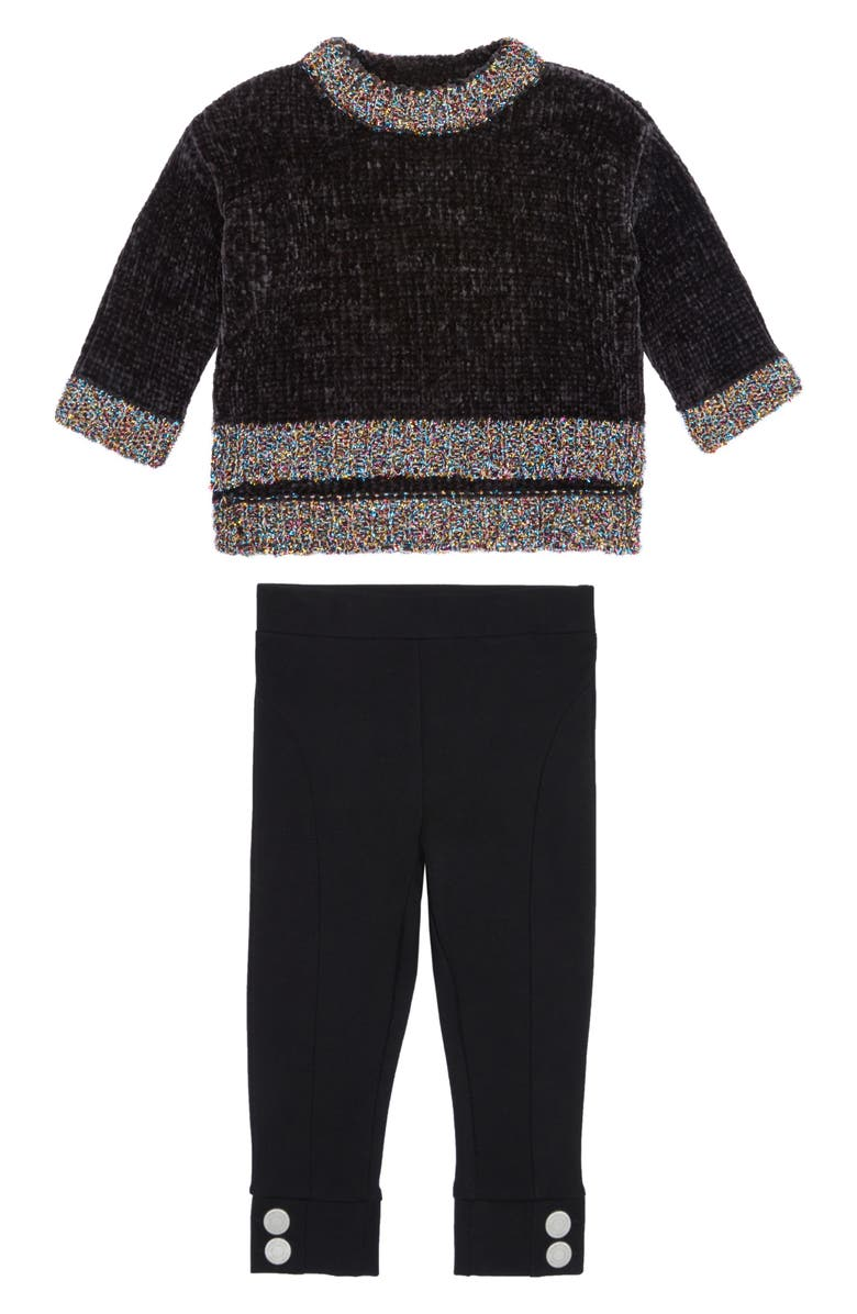 HABITUAL Colbie Chenille Sweater & Leggings Set, Main, color, DARK GREY HEATHER