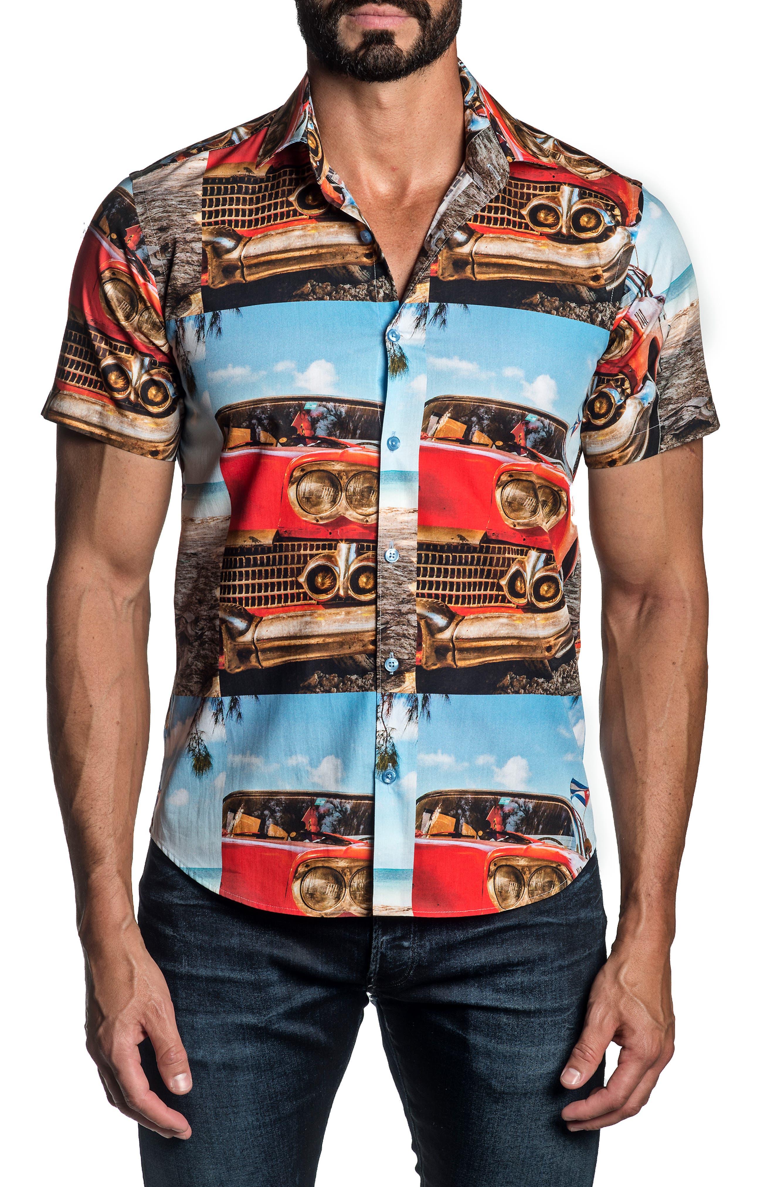 Regular Fit Print Short Sleeve Button-Up Shirt