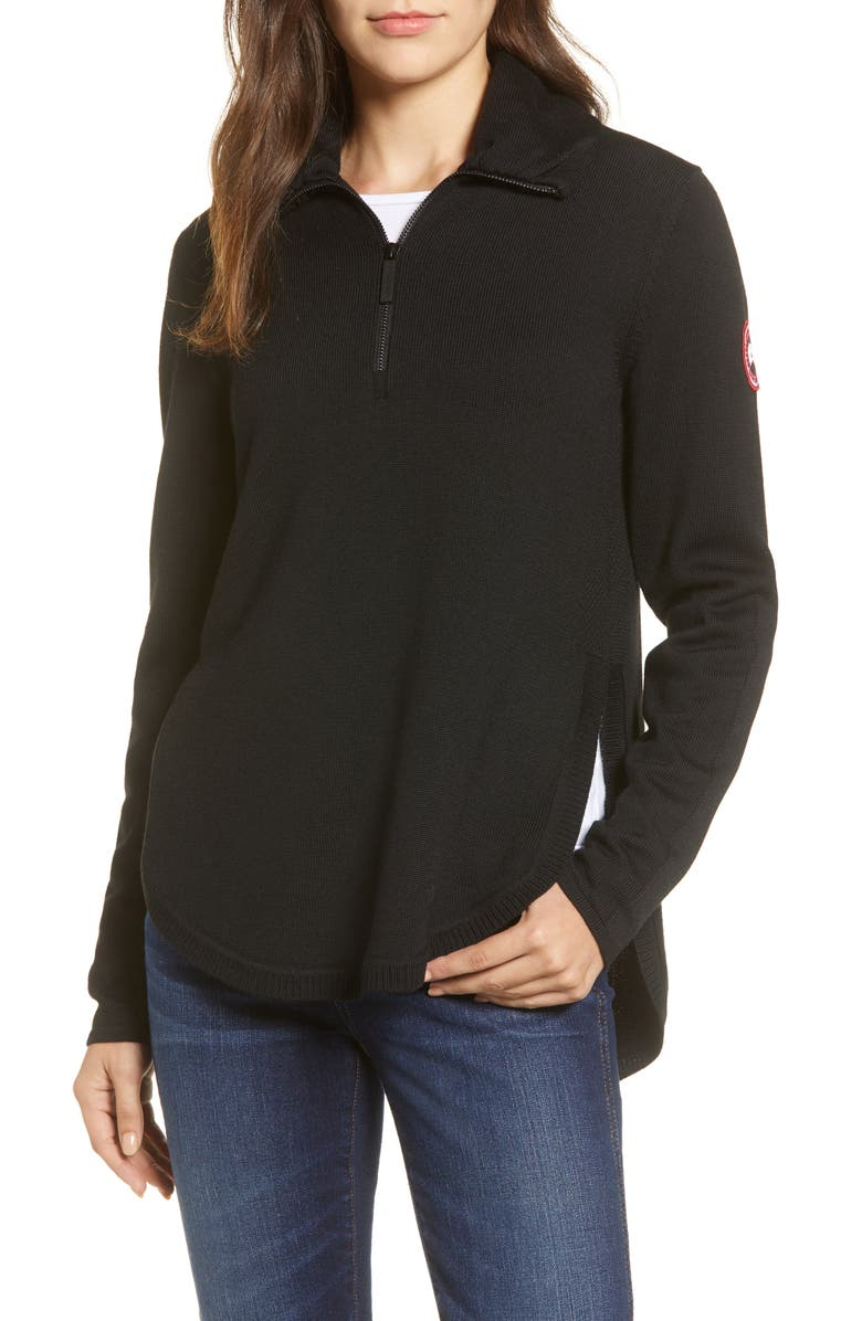 CANADA GOOSE Fairhaven Quarter-Zip Sweater, Main, color, BLACK