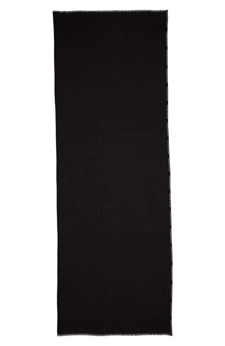 ALEXANDER MCQUEEN Selvedge Edge Cashmere & Silk Scarf, Main, color, BLACK/ IVORY