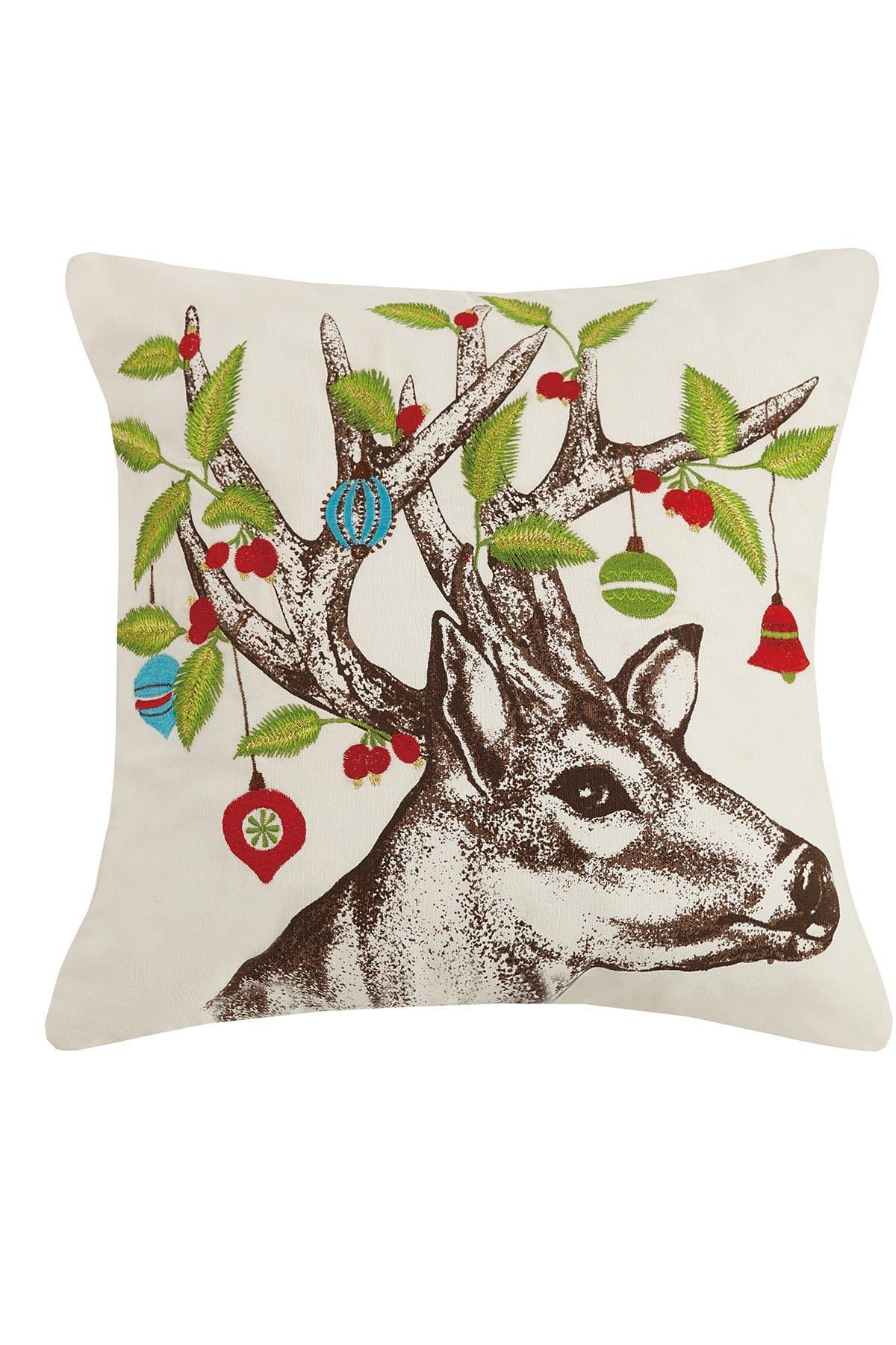 Image of Peking Handicraft Multi Deer Ornament Embroidered Pillow