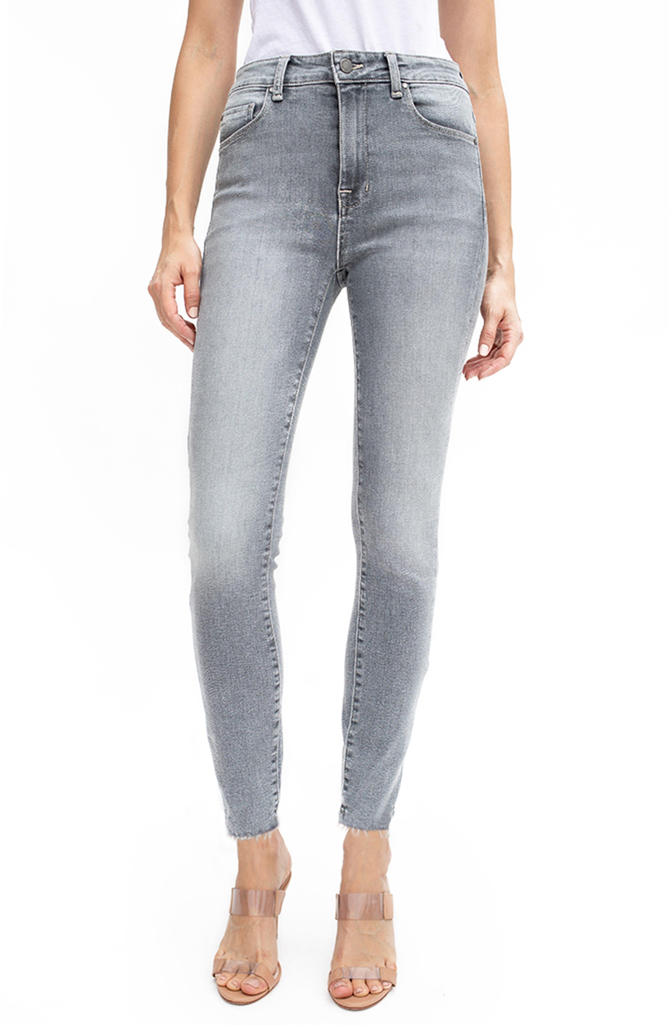 Gwen High Waist Raw Hem Ankle Skinny Jeans