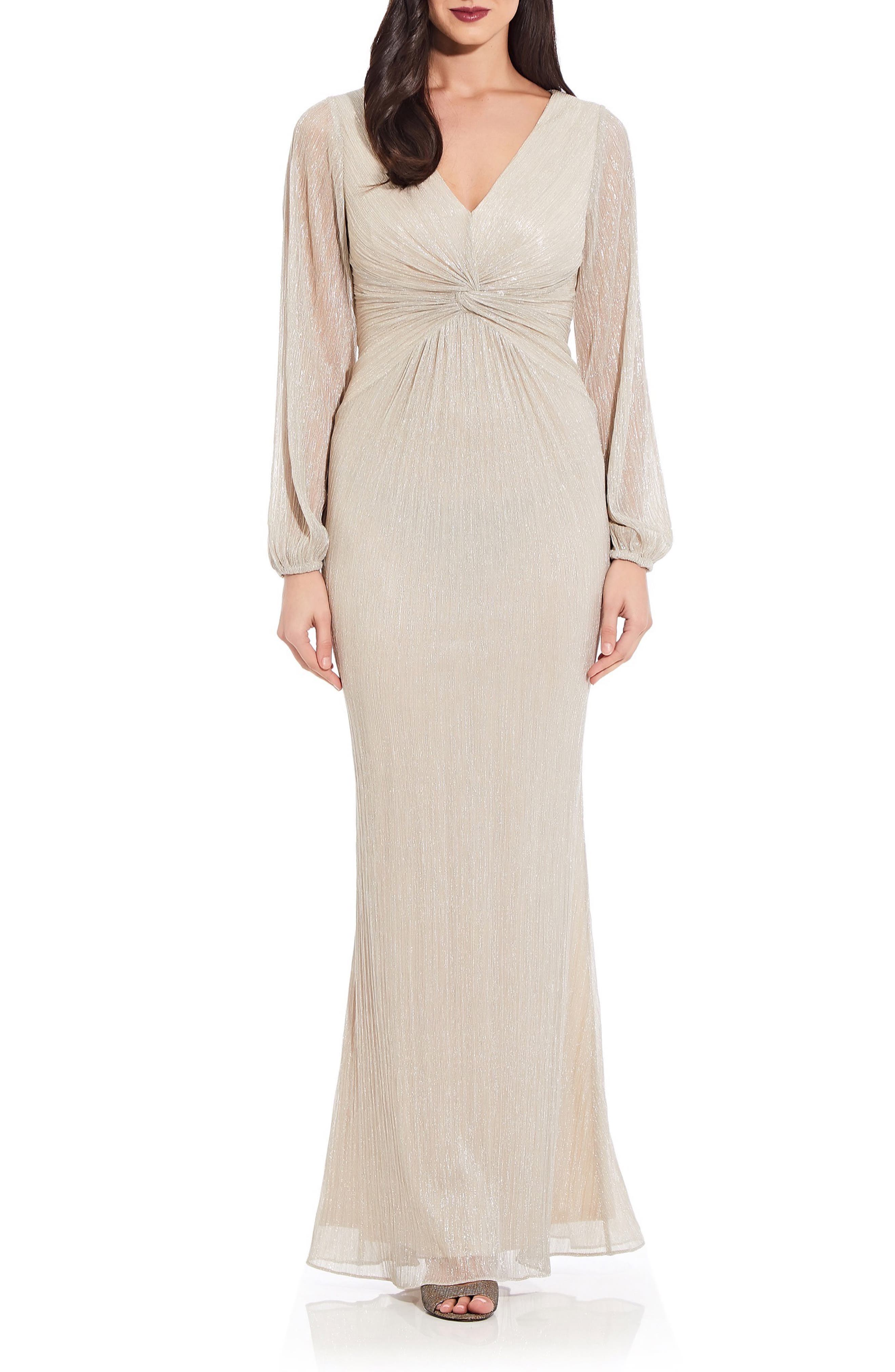 Glitter Knit Long Sleeve Gown