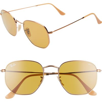 Ray-Ban 5m Evolve Photochromic Hexagon Sunglasses - Gold/ Copper Solid