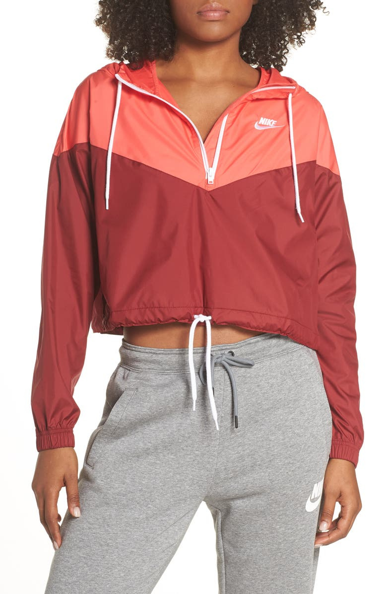 NIKE NSW Crop Anorak, Main, color, TEAM RED/ EMBER GLOW/ WHITE
