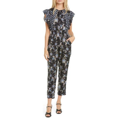 Rebecca Taylor Paisley Flutter Sleeve Silk Blend Jumpsuit, Black
