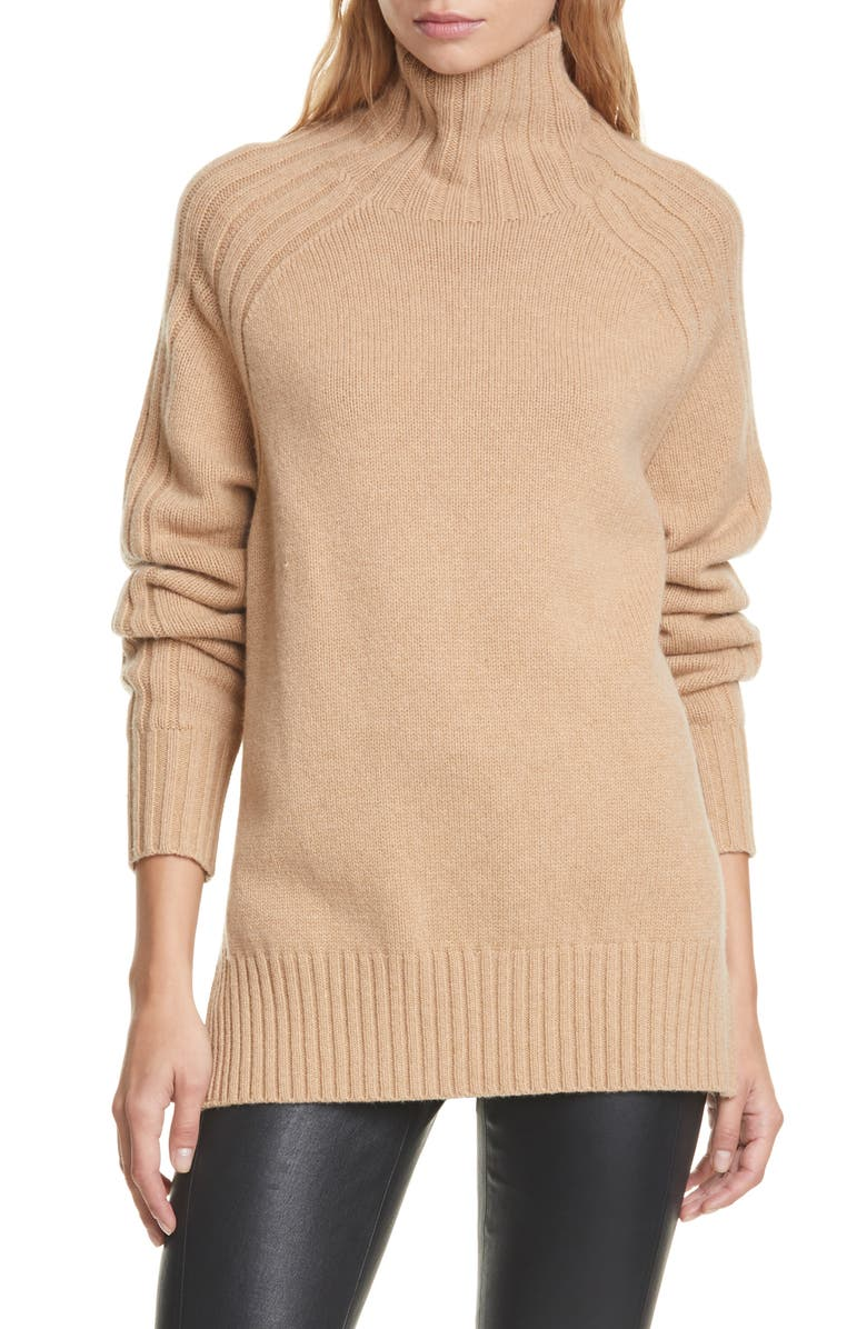POLO RALPH LAUREN Wool & Cashmere Tunic Sweater, Main, color, CAMEL MELANGE