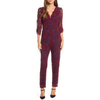 Adelyn Rae Ari Evening Lace Jumpsuit, Red