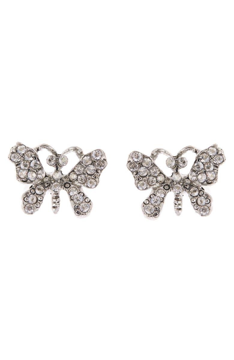 OSCAR DE LA RENTA Pavé Butterfly Stud Earrings, Main, color, CRY SHADE/ SILVR