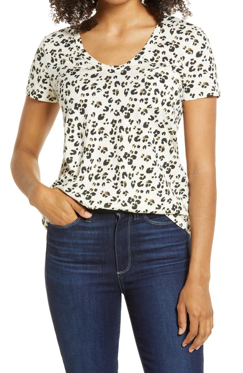 CASLON<SUP>®</SUP> Rounded V-Neck T-Shirt, Main, color, IVORY- BLACK ANIMAL DOT
