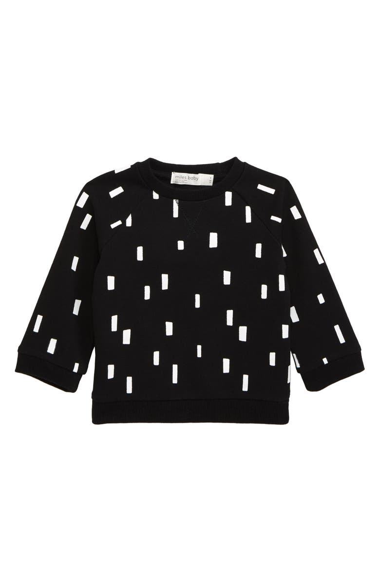 MILES baby Graphic Sweatshirt, Main, color, BLACK