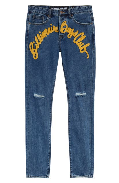 Billionaire Boys Club Jeans ORION RIPPED LOGO APPLIQUE STRAIGHT LEG JEANS