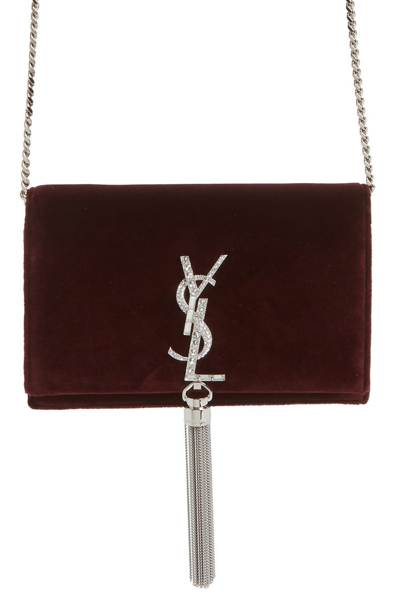 SAINT LAURENT Small Kate Embellished Velvet Wallet on a Chain, Main, color, 930