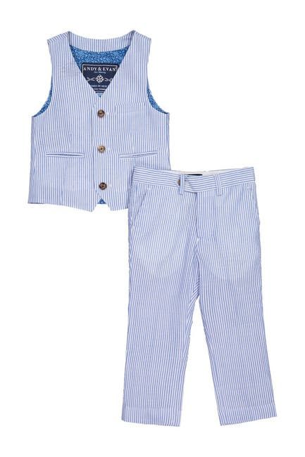Image of Andy & Evan Seersucker Vest & Pant 2-Piece Set