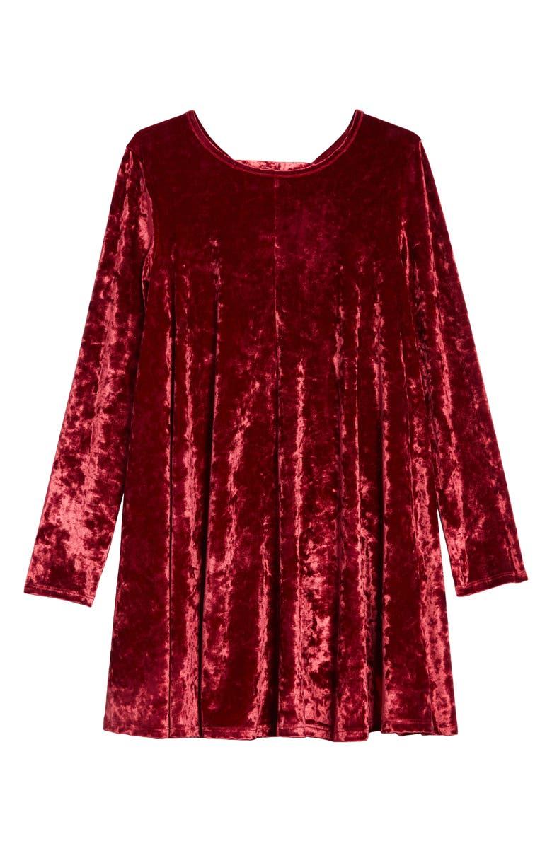 TUCKER + TATE Tie Back Velour Dress, Main, color, RED TIBETAN