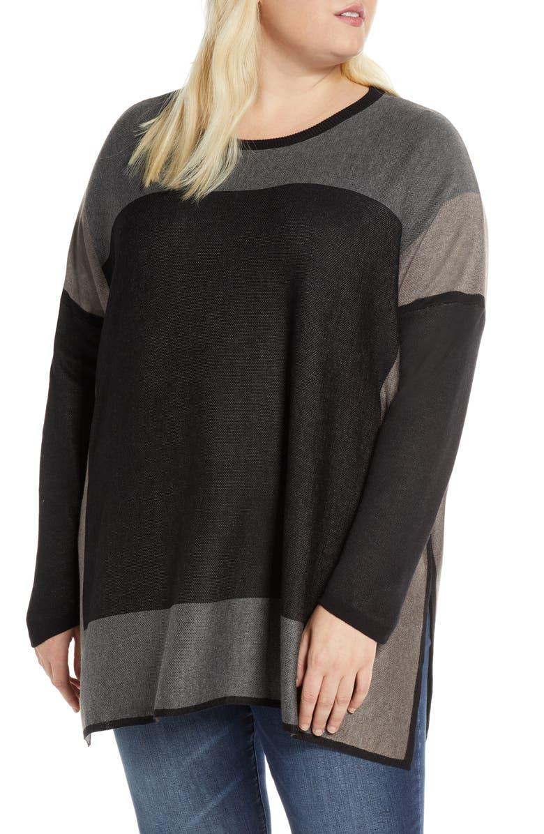 SINGLE THREAD Colorblock Tunic Sweater, Main, color, BLK/ CHARC/ HBARK