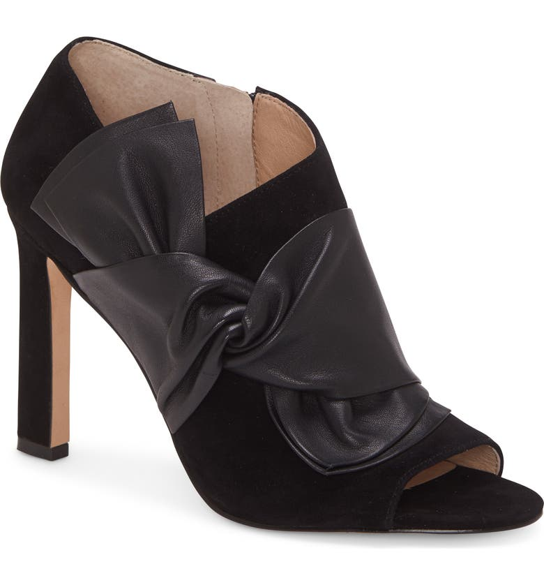 LOUISE ET CIE Idola Open Toe Bootie, Main, color, BLACK SUEDE