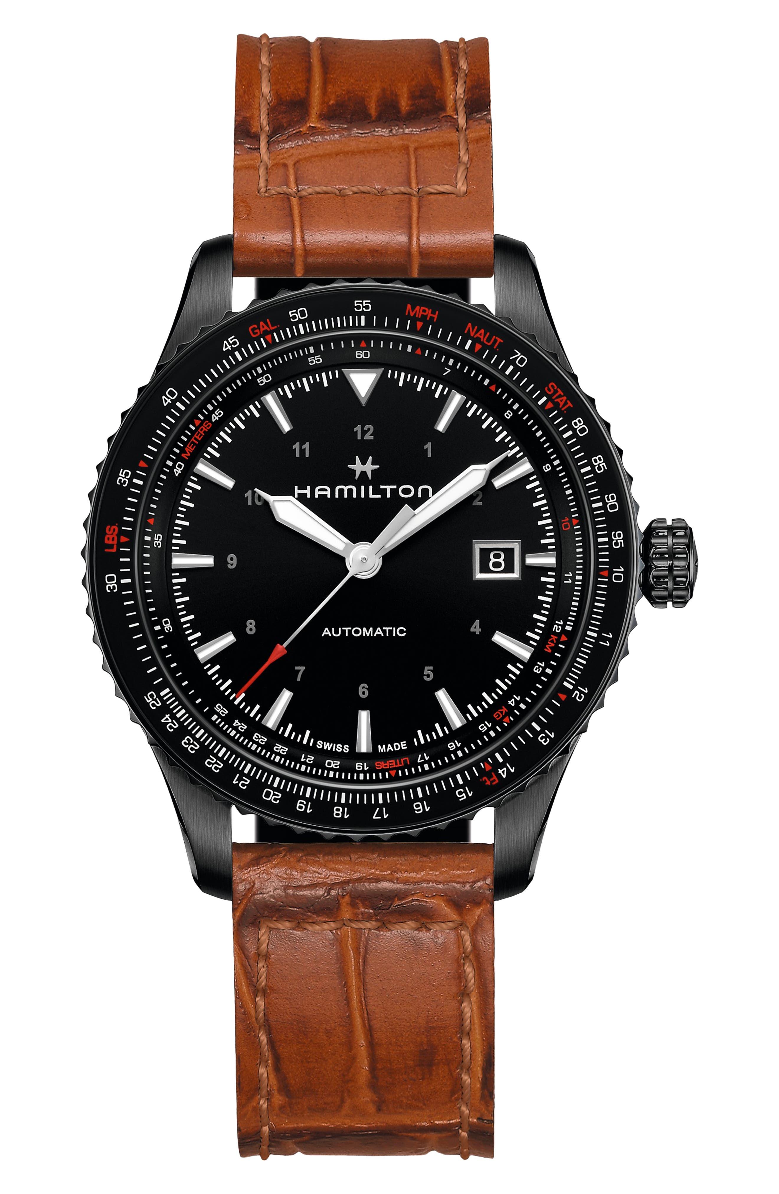 Khaki Aviation Converter Leather Strap Watch