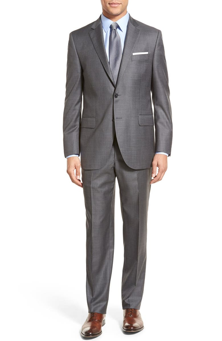 PETER MILLAR Classic Fit Solid Wool Suit, Main, color, CHARCOAL