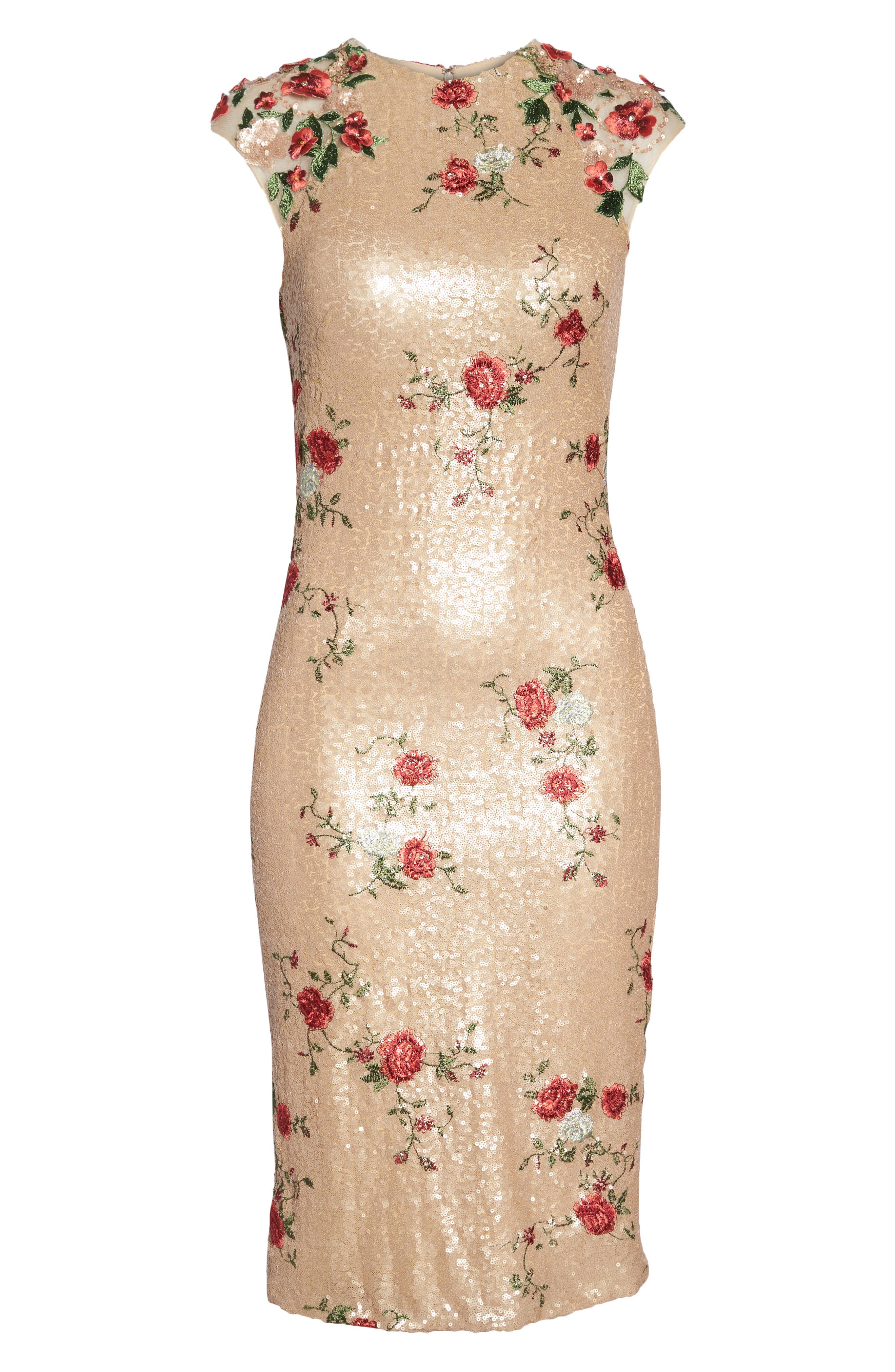 ,                             Sequin & Embroidery Sheath Dress,                             Alternate thumbnail 7, color,                             CHAMPAGNE ROSE