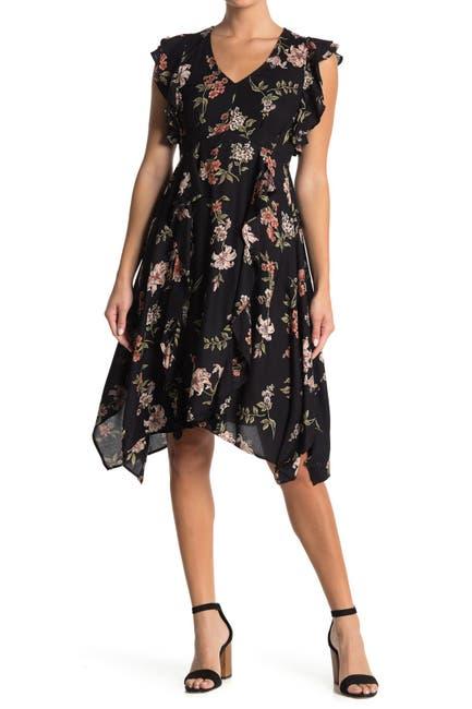 Image of Angie Flutter Trim Floral Print Dress