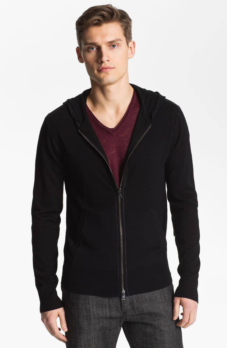 JOHN VARVATOS Merino Wool Slim Fit Zip Hoodie, Main, color, BLACK