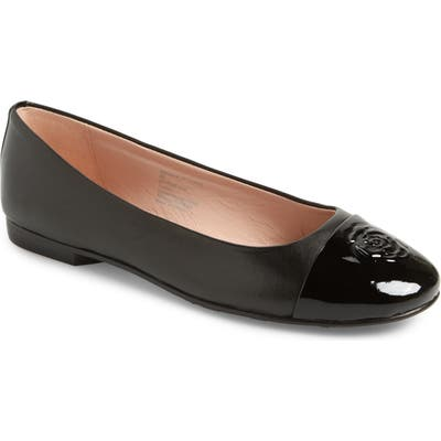 Taryn Rose Collection Adrianna Cap Toe Skimmer Flat, Black