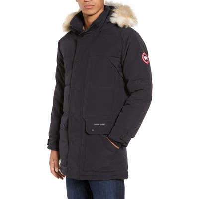 Canada Goose Emory Slim Fit Genuine Coyote Fur Trim Parka, Blue