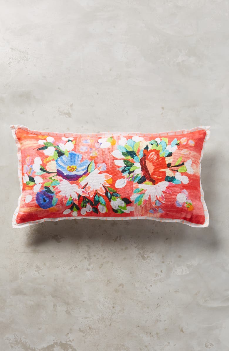 ANTHROPOLOGIE Liv Floral Accent Pillow, Main, color, PINK COMBO